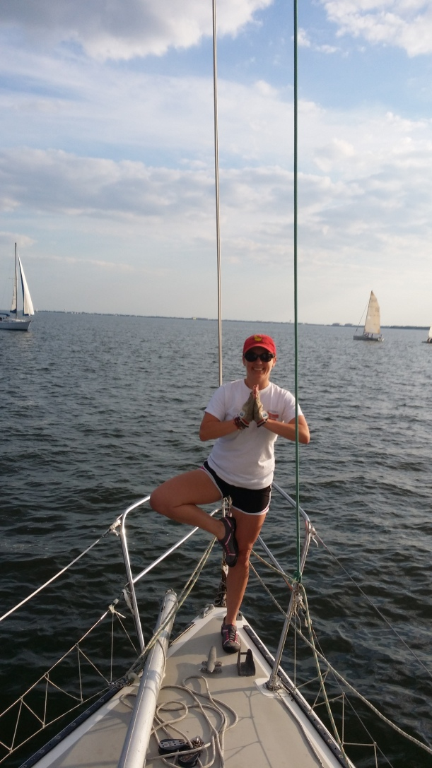I tried to do tree pose on the bow. Moving sailboat + rum = Tilted tree :)