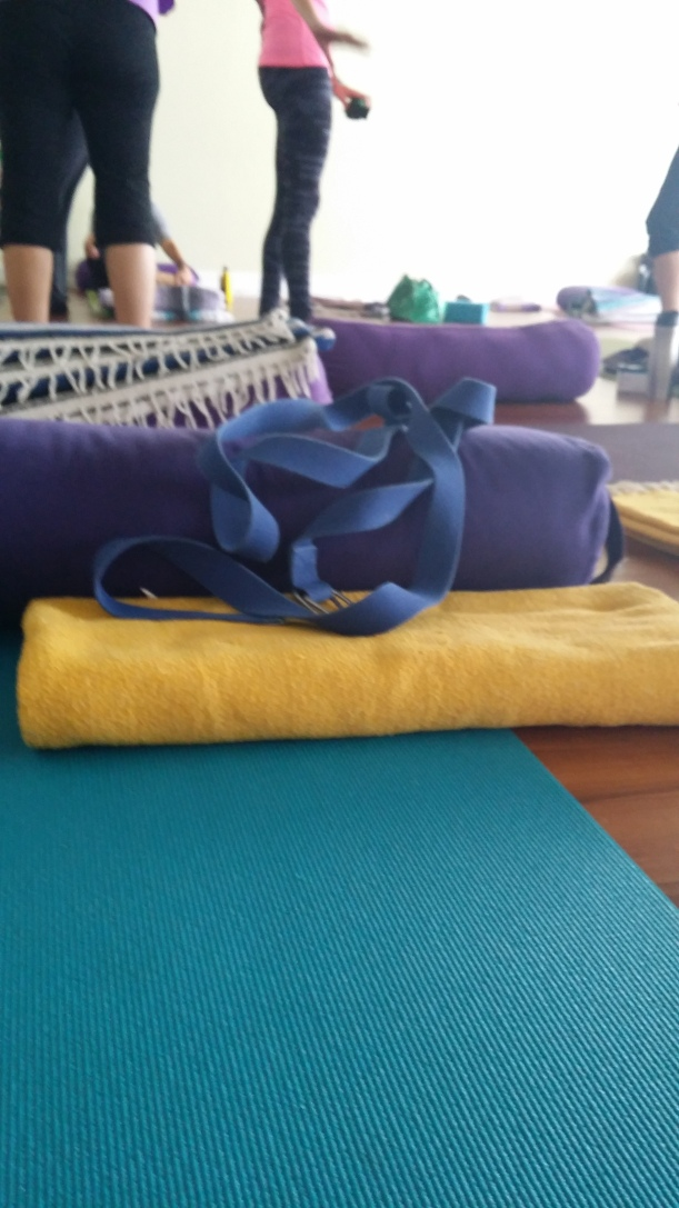 Restorative yoga uses lots of props!! Perfect for propping up a bum knee :)