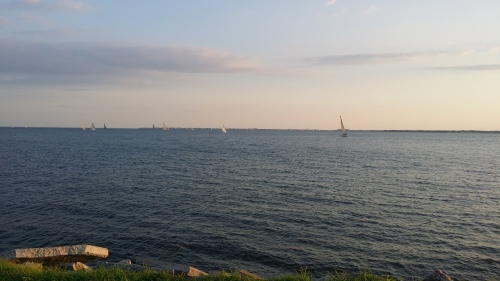 The boats approaching the last mark before heading to the finish line