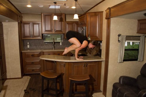 on the breakfast bar in an RV (posts to follow about the RV)
