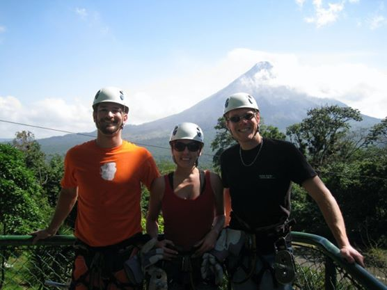 Getting ready to zip line by the volcano