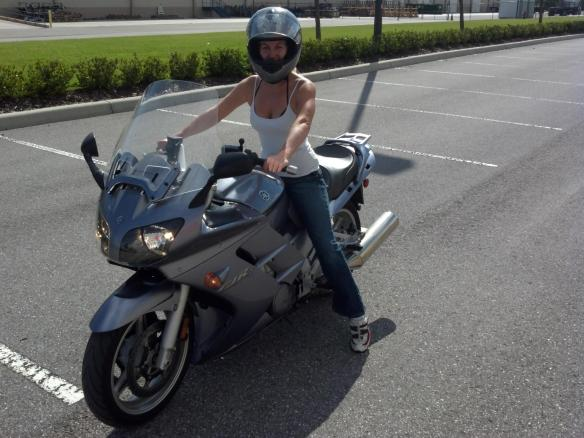 Don't worry, I don't ride like this. I wear jacket, gloves, boots, etc. This was at an empty parking lot near my house getting use to riding her :)